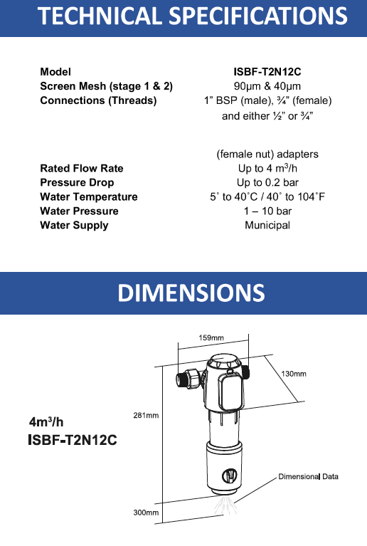 Water Filter Technical Specifications